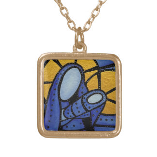 Blue Modern Mother And Child Gold Plated Necklace