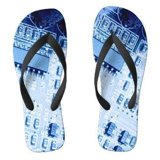 Blue Modern Motherboard Pattern Flip Flops
