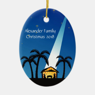 Blue Modern Nativity Christmas Ornament
