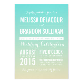Blue Modern Ombre Beach Wedding Invitation