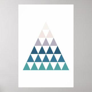 Blue modern print triangle. Geometric wall art