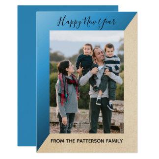 Blue Modern Slant New Year's Photo Flat Card