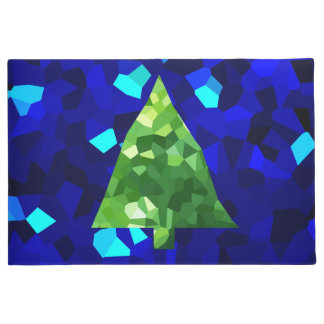 Blue Modern Stained Glass Holiday Christmas Tree Doormat