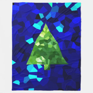 Blue Modern Stained Glass Holiday Christmas Tree Fleece Blanket