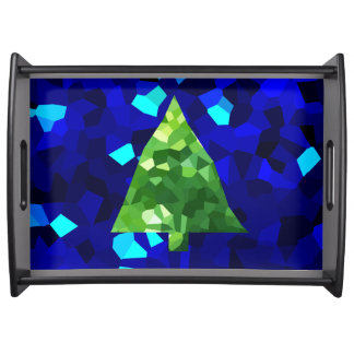 Blue Modern Stained Glass Holiday Christmas Tree Serving Tray