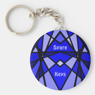 Blue modern stained glass look keychain
