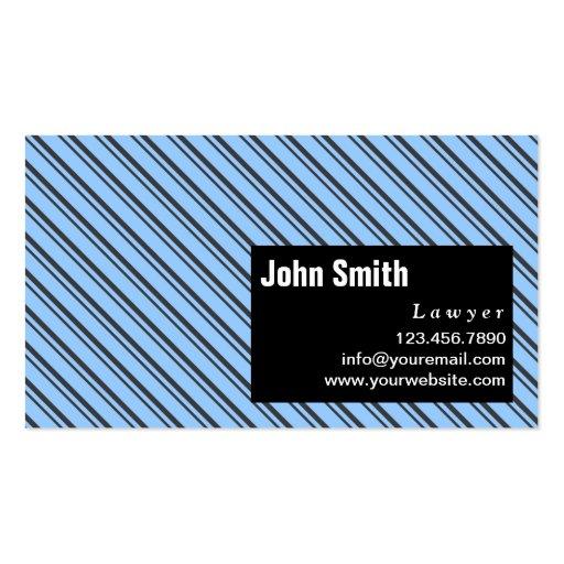Blue Modern Stripes Lawyer Business Card
