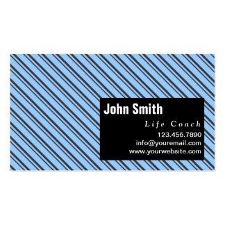 Blue Modern Stripes Life Coach Business Card