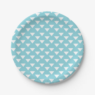 Blue Modern Triangles Paper Party Supply Plate