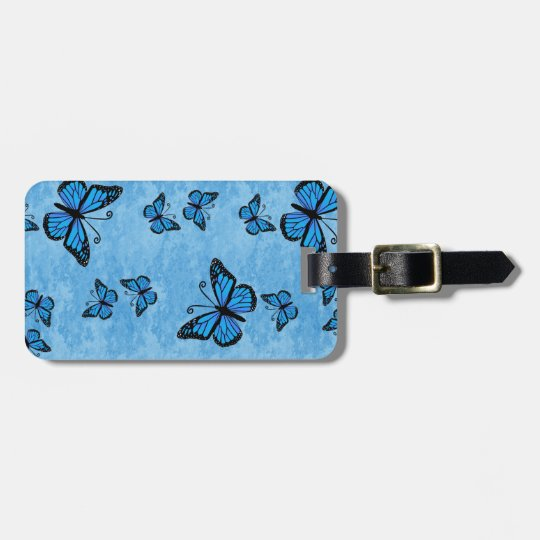 Blue Monarch Butterfly Luggage Tag