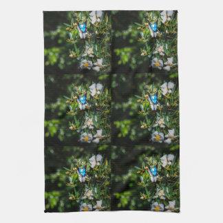 Blue Monarch Butterfly on Flowers Hand Towel