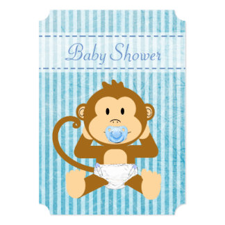 Blue Monkey Baby Shower Its a Boy Invitations