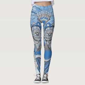 Blue Monkey Face Design Leggings