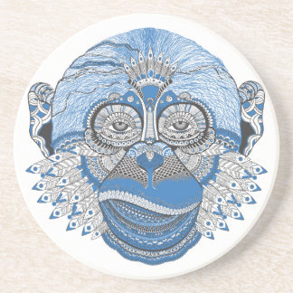 Blue Monkey Face with Pattern and Feathers Beverage Coasters