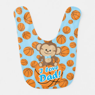 Blue Monkey I Love Dad Basketball Bib