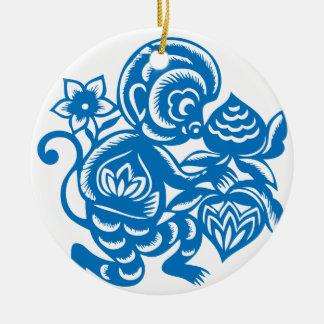 Blue Monkey Paper Cutting Round Ceramic Ornament