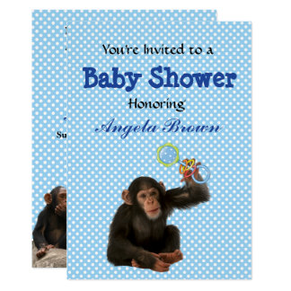 Blue Monkey See, Monkey Do Custom Baby Shower Card