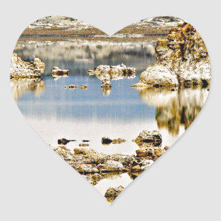 BLUE MONO LAKE WITH TUFA ROCK FORMATIONS HEART STICKER