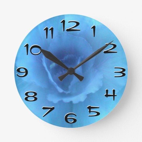 Blue Monochrome Cabbage Wall Clock Large Numbers