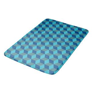 Blue Monochrome Diamond Shapes Bathroom Mat