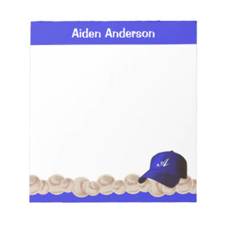 Blue Monogram Baseball Hat Notepad