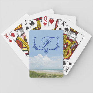Blue Monogram Beach with Sand Dune Personalized Playing Cards