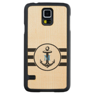 Blue Monogram | Classic Anchor Carved Maple Galaxy S5 Case