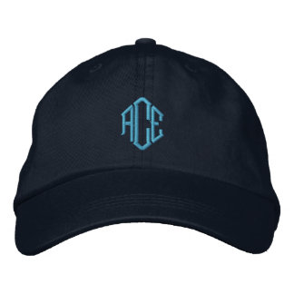 Blue Monogram Embroidered Hat