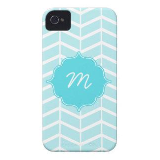 Blue Monogram Herringbone Quatrefoil iPhone 4 Cases
