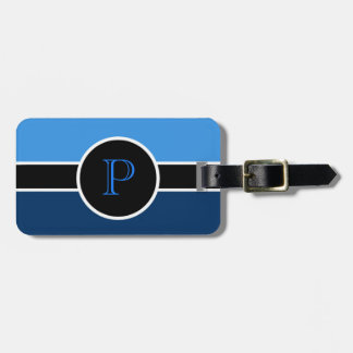 Blue Monogram Initial Modern Chic Travel Bag Luggage Tag