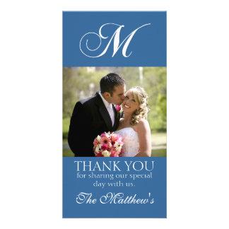 Blue Monogram M Wedding Thank You Photo Card