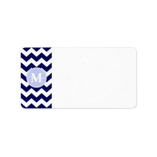 Blue Monogram Navy White Chevron Zigzag Stripe