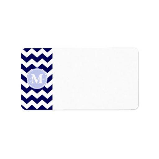 Blue Monogram Navy White Chevron Zigzag Stripe Custom Address Label