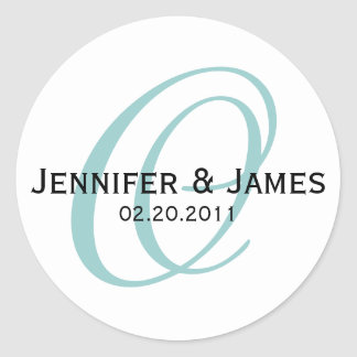 Blue Monogram O Wedding Favor Sticker