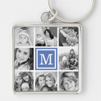 Blue Monogram Photo Collage Keychain