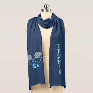Blue Monogram Tennis Design Scarf