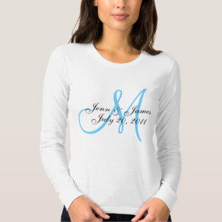 Blue Monogram Wedding Announcement T-Shirt