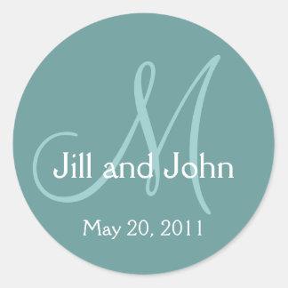 Blue Monogram Wedding Save the Date Sticker