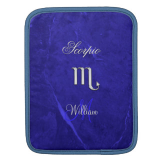 Blue Monogram Zodiac Sign Scorpio iPad Sleeve