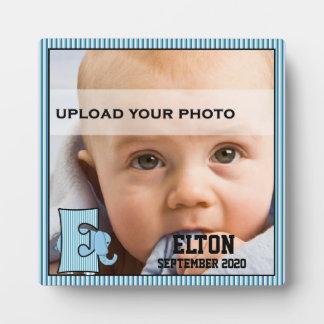 "Blue Monogrammed ""E"" Kid's Photo Plaque"