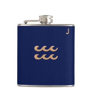 Blue Monogrammed Flask - Zodiac - Aquarius