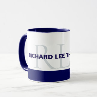 blue monogrammed mug