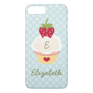 Blue Monogrammed Strawberry Cupcake iPhone 8 Plus/7 Plus Case