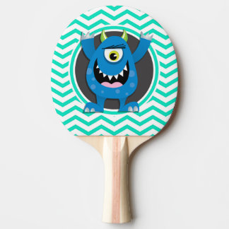 Blue Monster; Aqua Green Chevron Ping Pong Paddle