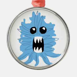 Blue Monster Baby Shirt Silver-Colored Round Ornament