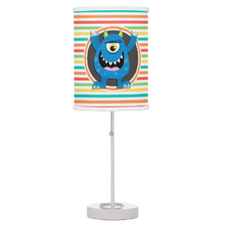 Blue Monster; Bright Rainbow Stripes Table Lamp