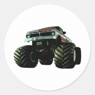 Blue Monster Truck Classic Round Sticker