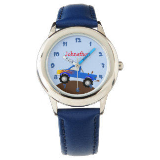 Blue Monster Truck Personalized Wristwatch