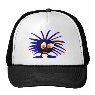 Blue monsters looking down trucker hat