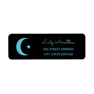 Blue Moon And Star Address Label